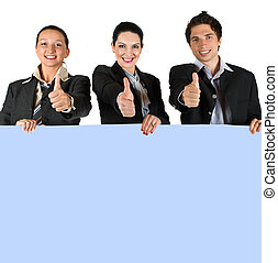 Happy people holding a board and give thumbs-up - Group of...