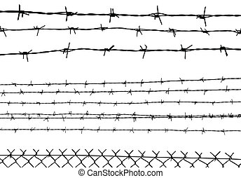 silhouette of the barbed wire isolated on white, vector...