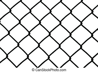 Silhouette of wired fence isolated on white, vector...