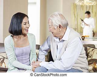 father and adult daughter - asian father and adult daughter...