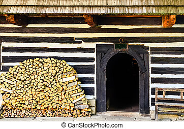 Entrance to traditional old cottage in Slovakia - Entrance...