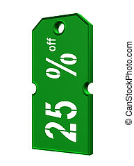 green price tag with discount on white background