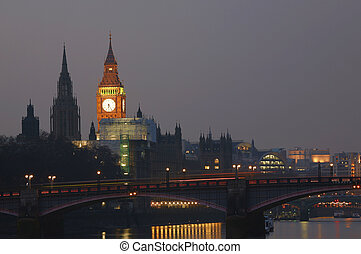 London Skyline, Night - London skyline, include Big Ben and...