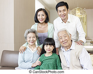 three-generation family - home portrait of a...