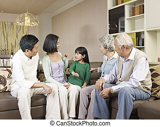 three-generation family - three-generation asian family at...