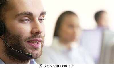 Consulting on the phone - Handsome telecom agent and his...