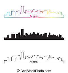 Miami skyline linear style with rainbow in editable vector...