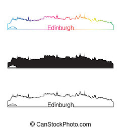 Edinburgh skyline linear style with rainbow in editable...