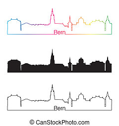 Bern skyline linear style with rainbow in editable vector...