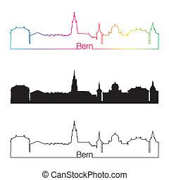 Bern skyline linear style with rainbow in editable vector...