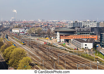 Skyline of Amsterdam city - Railtrack Amsterdam Central...