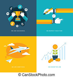 Flat design icons for business - Set of flat design concept...