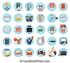 Business, office and marketing items icons - Web design...