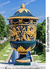 Vase sculpture closeup in Peterhof, Saint-Petersburg, Russia
