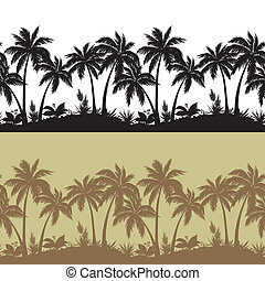 Palms and flowers silhouettes, set seamless - Palm trees,...