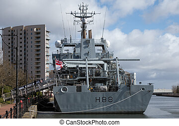 CARDIFF UK MARCH 2014 - HMS Enterprises docks at Cardiff