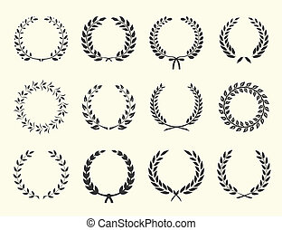 silhouettes of wreaths - large set of silhouettes laurel...