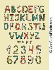 Hand drawn alphabet ABS letters with colored decorative...