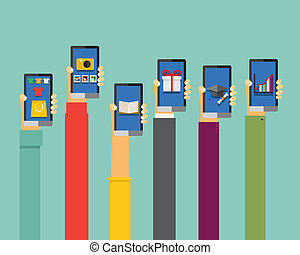 mobile apps illustration in flat design, hands holding...
