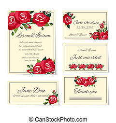 Set of wedding invitation cards with roses - Complete set of...