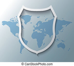 Illustration of shield sign with world map