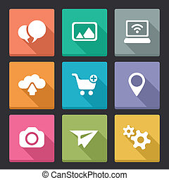 flat vector icons for internet and mobile applications