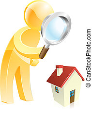 Home survey gold person - Man scrutinising a house with a...