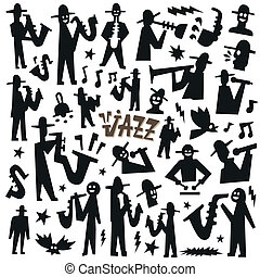 jazz mans - doodles set black vector cartoons
