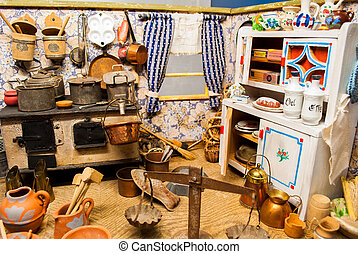 vintage game - home kitchen complete with hanging made with...