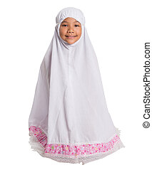 Young Muslim Girl In White Hijab - Young Asian Muslim girl...
