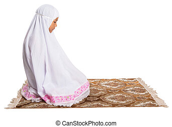 Young Muslim Girl Praying - Young Asian Muslim girl...
