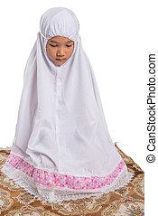 Young Muslim Girl Praying - Young Asian Muslim girl...
