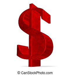 Red dollar sign on white - Red reflective dollar sign...