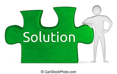 ?3d man leaning on green puzzle with word solution