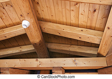 Ceiling with exposed beams