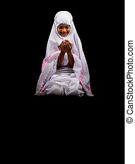 Young Girl In White Hijab - Young Asian Muslim girl in white...