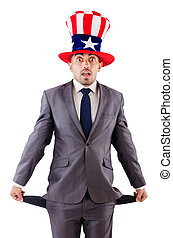 Man with american hat asking for money