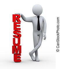 3d businessman resume word presentation - 3d illustration of...