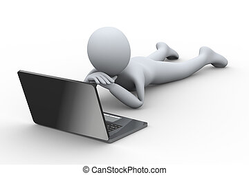 3d person looking at laptop - 3d illustration of man lying...