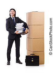 Man with boxes full of work