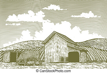 Woodcut Barn Yard - Woodcut-style illustration of a barn and...