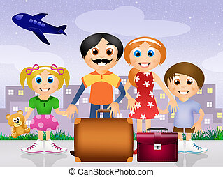 family go on vacations - illustration of family go on...