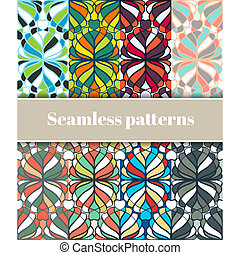 Floral Seamless Patterns Set - Set of varicoloured floral...