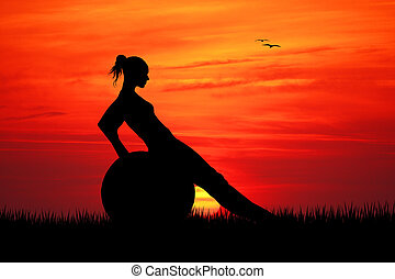 Pilates at sunset - illustration of pilates at sunset