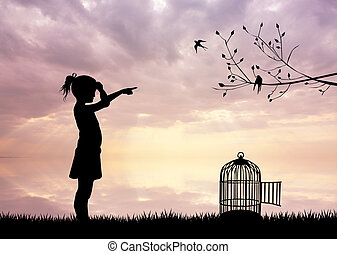 girl with bird cage at sunset - illustration of girl with...