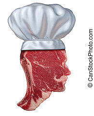 Barbecue Chef - Barbecue chef food concept with a red meat...