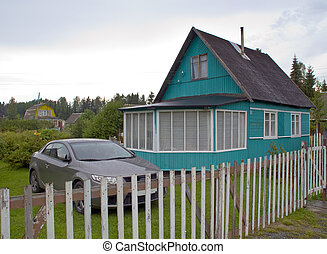 Rural cottage - Rural russian cottage in forest with the car...