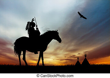Native America Indian on horse