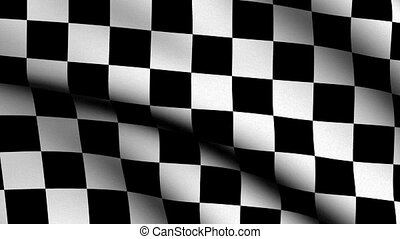 Checker Flag waving in the wind - Checker Flag - very highly...