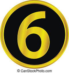 Gold number six button on white background.